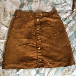 Suede high waisted skirt